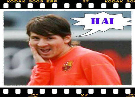 foto lucu messi yg berpose seperti cherrybelle and dont forget to say wow