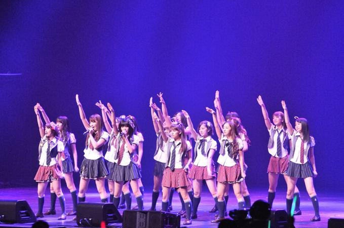 AKB48 performing at Nokia Theatre, Los Angeles, in July 2010