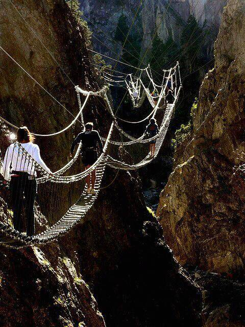 The Tibetan Bridge in Claviere, Piedmont, Italy