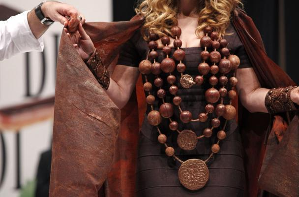 Singer Lara Fabian wears a creation made with chocolate during a fashion show at the inauguration of the 15th annual Salon du Chocolat de Paris in Paris on October 13, 2009. The show, the worlds biggest dedicated to chocolate, brings together