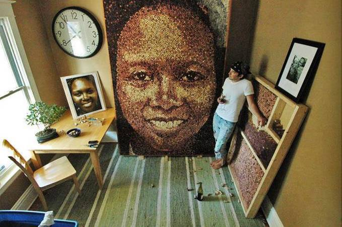 This man makes portraits out of wine bottle corks. Awesome