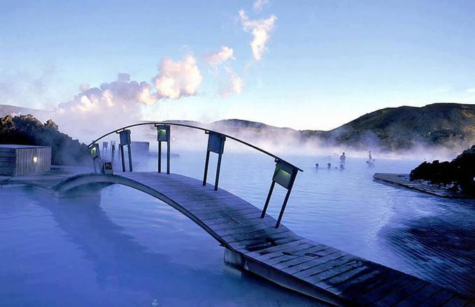 The Blue Lagoon hot springs in Iceland are man-made bodies of water, but the springs are heated naturally with the volcanic activity on the island. The springs are especially beautiful in the snowy winter, and the water still quite toasty.