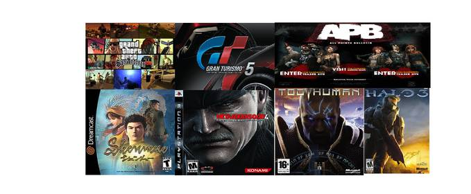 ini bro 7 game termahal di dunia -gta, grand turismo 5, shenmue, too human, metal gear solid 4, halo 3, APB