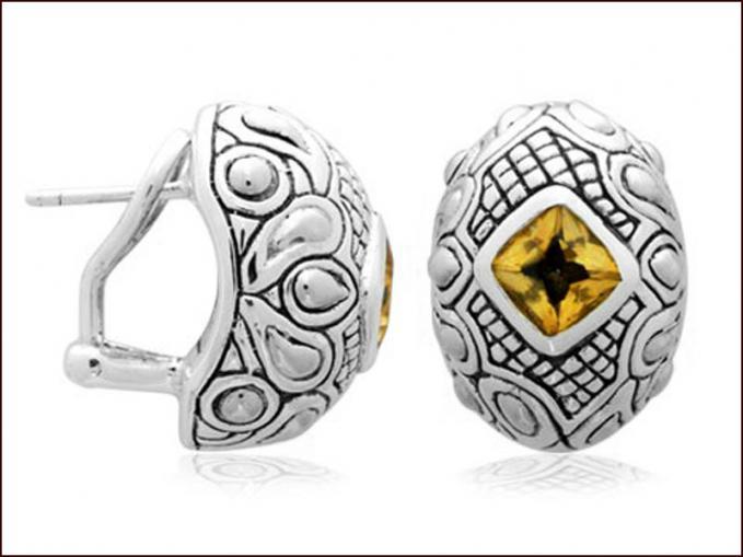 Wonderful bali classic silver earring featuring citrine semi precious stones...