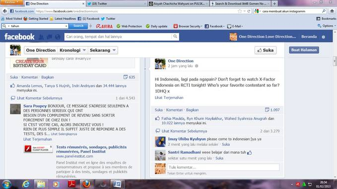 official fanspage 1D membuat status berbahasa Indonesia says wow if you directioner