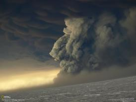 This photo of the volcano eruption in Iceland was taken May 22, 2011, at 9:36 a.m.