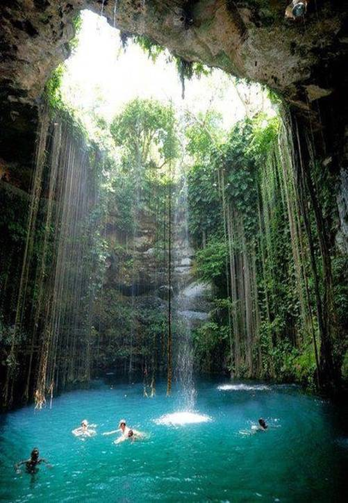 Natural Swimming Pool in Chichen Itza, Mexico