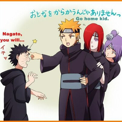 well this is actually should have doavewn ! if you think abonk abouut it nagato yahiko and konan are as old as minato (obito sensei) who si AT LEAST 10 years older than !at the time when obito met those 3, they were their 20s or early 30 sw