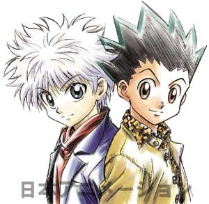 left (Killua Zaoldyeck) right (Gon Freecss)