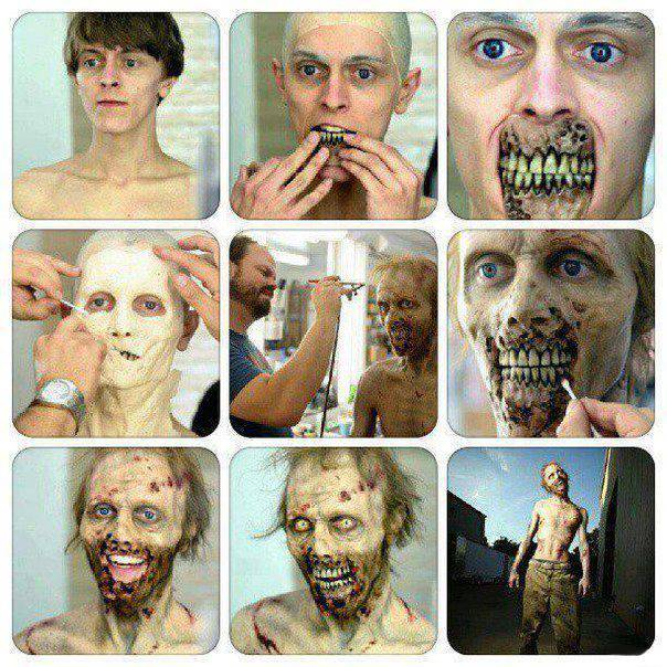 How to put on zombie make-up.