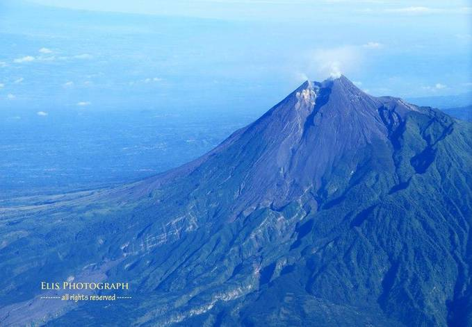 Merapi Mountain from the Airplane Window