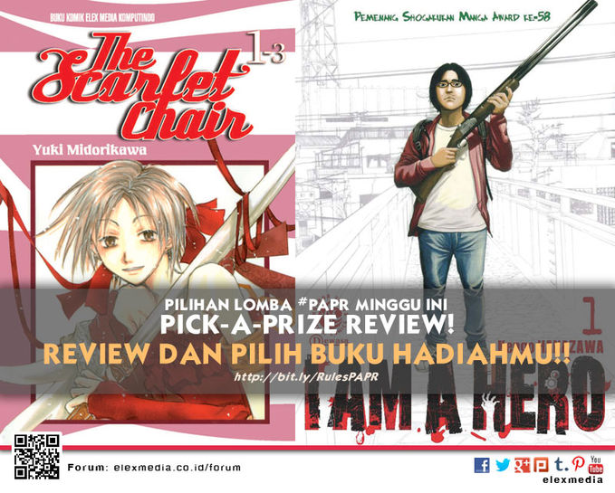 #LombaReview Pick-A-Prize Review minggu ini THE SCARLET CHAIR http://ow.ly/rzxmW I AM A HERO http://ow.ly/rg8Fu *Cara: 1. Register http://bit.ly/LXORegs 2. Simak http://bit.ly/RulesPAPR