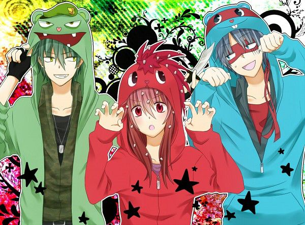Flippy, Flaky, and Splendid, from HTF vers. Anime WOW-ny