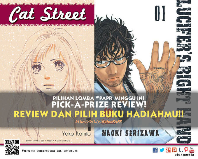 #LombaReview PickAPrizeReview minggu ini CAT STREET http://ow.ly/rWEkN LUCIFERS RIGHT HAND http://ow.ly/rJiHB *Cara: 1. Register http://bit.ly/LXORegs 2. Simak http://bit.ly/RulesPAPR