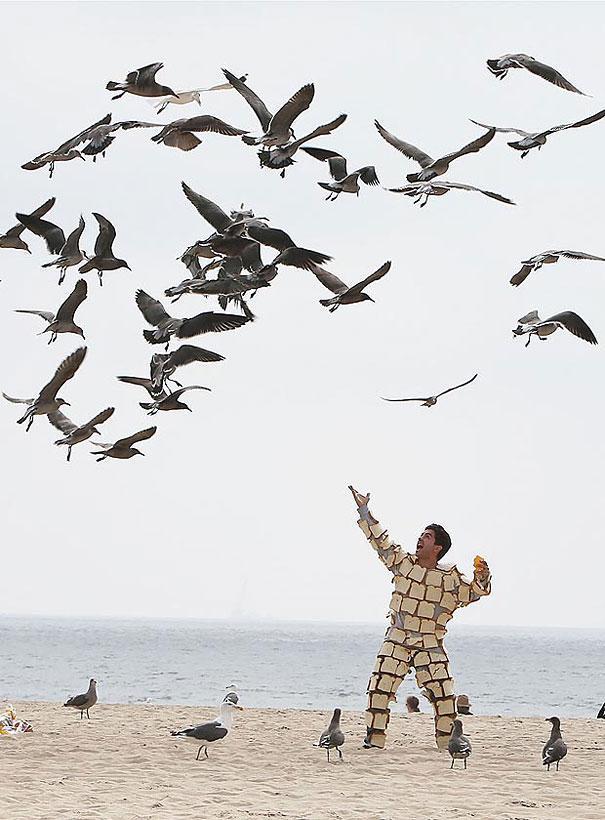 manusia memang kreatif, meski dengan cara yg cukup aneh.. foto diatas adalah orang yg ingin berdekatan bersama burung secara langsung dengan menggunakan umpan roti diseluruh tubuhnya..