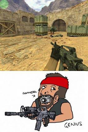 hahaha ,, inilah cara Counter Strike membawa kameranya,, ngakak abiiisss WOW ya....