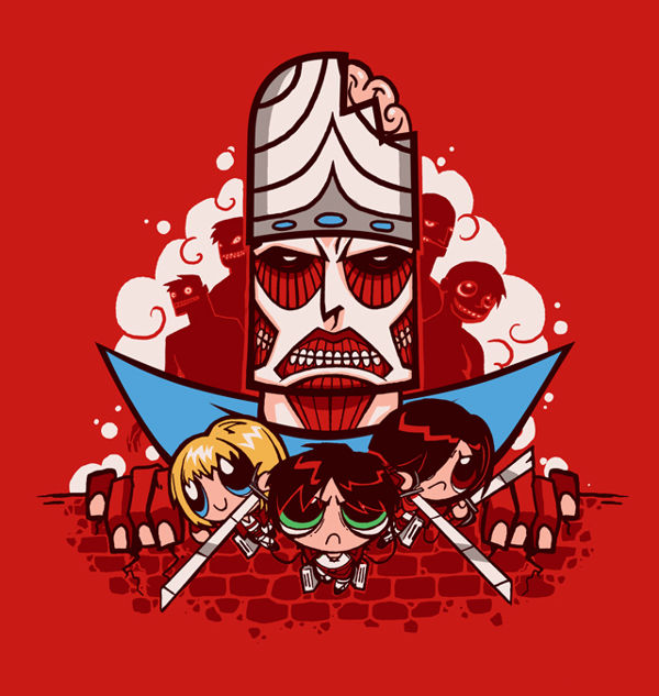 waaaaaah attack on titan versi power puff gilrs yaaaaay lucunya ya buttercup: mikasa , bubble : armin , dan blossom : eren ! like it? wow nya ya?