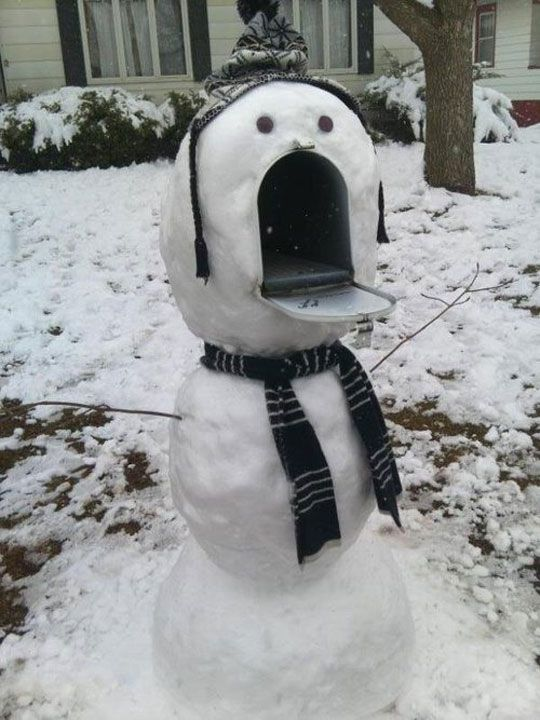 Snow Man Mail Box