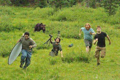 Lariiiii,... batal motret malah dikejar beruang