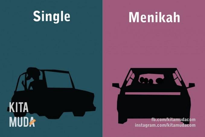 #13 MOBIL Single : biasanya naik mobil sendiri. Menikah : sekarang ramai dengan keluarga.