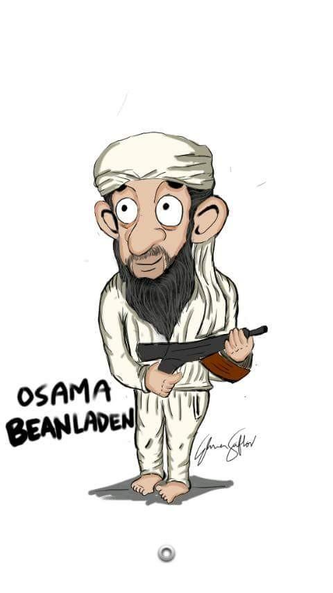 #3 OSAMA BIN LADEN Hahaha kocak sekali ini pembuat karikaturnya. Pemimpin Al Qaeda juga dapat diperankan menjadi Osama Bean Laden.