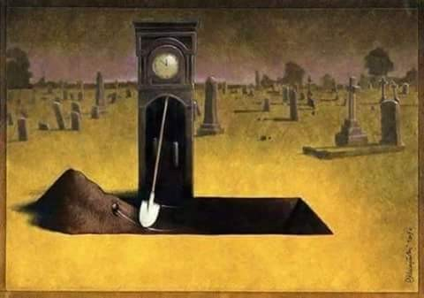 Setiap yang hidup pasti akan mati, dan setiap yang muda akan menjadi tua. Begitulah kata pepatah pulsker. Kita hidup di dunia hanyalah untuk menunggu mati saja. Kematian kita pun tinggallah menunggu waktu. Saat kematian sudah tiba, waktu tidak akan bisa berputar pulsker. Begitulah makna karikatur ini.