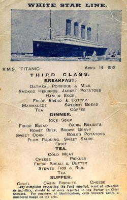 Foto Langka Daftar Menu Makanan yang Ada di Restoran Kapal Titanic