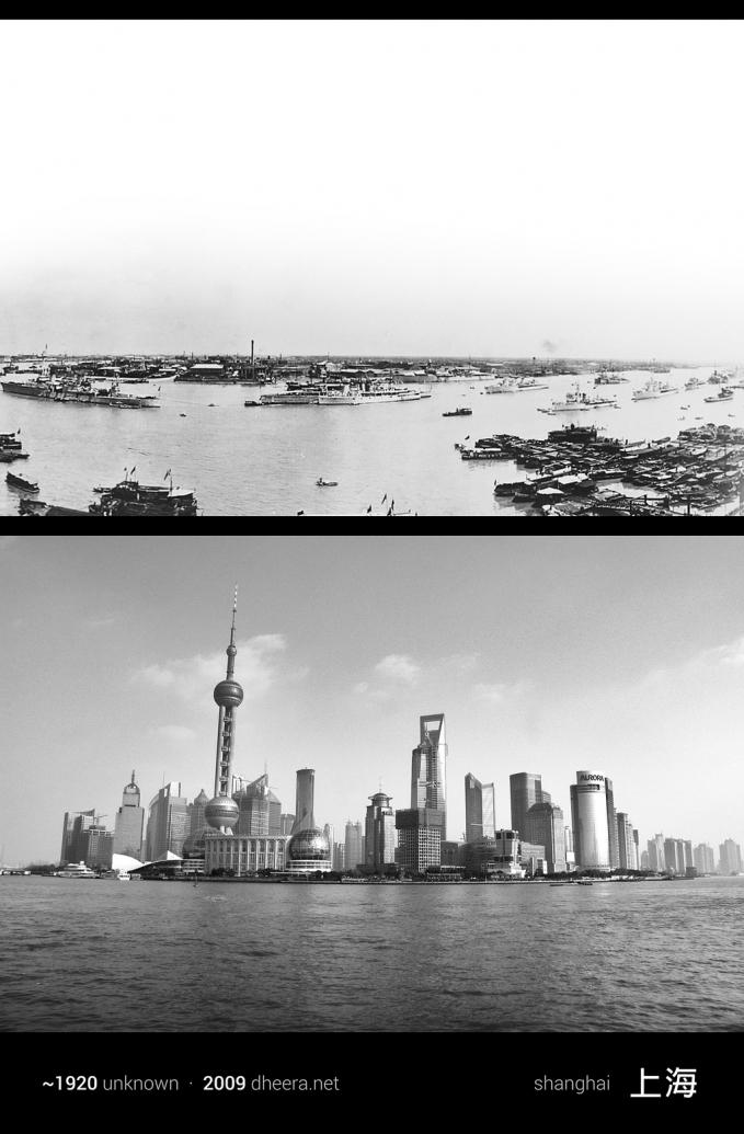 Perubahan drastis di kota pelabuhan Shanghai tahun 1920 dan 2016.