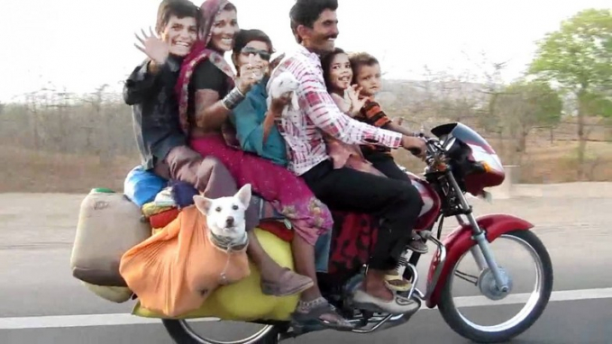 bukan cuman mengangkut istri dan anak aja, terlihat orang yang menggunakan motor ini juga mengangkut hewan yaitu anjing. Coba aja hitung berapa nyawa yang ada di atas motor ini :(
