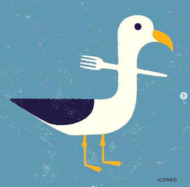 ilustrasi bagaimana sebuah sampah garpu plastik dari manusia melukai seekor burung :(
